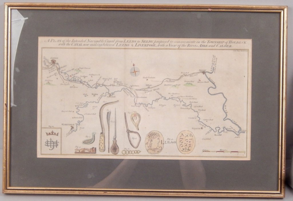 Hand colored map 1774 Leeds and Liverpool - 2
