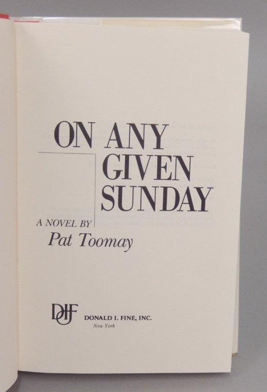 Signed First Edt. On Any Given Sunday by Pat Toomay - 6