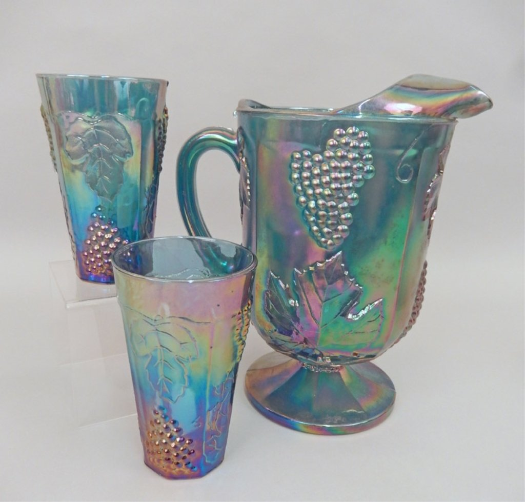 Carnival glass pitcher and two cups, handled basket - 3