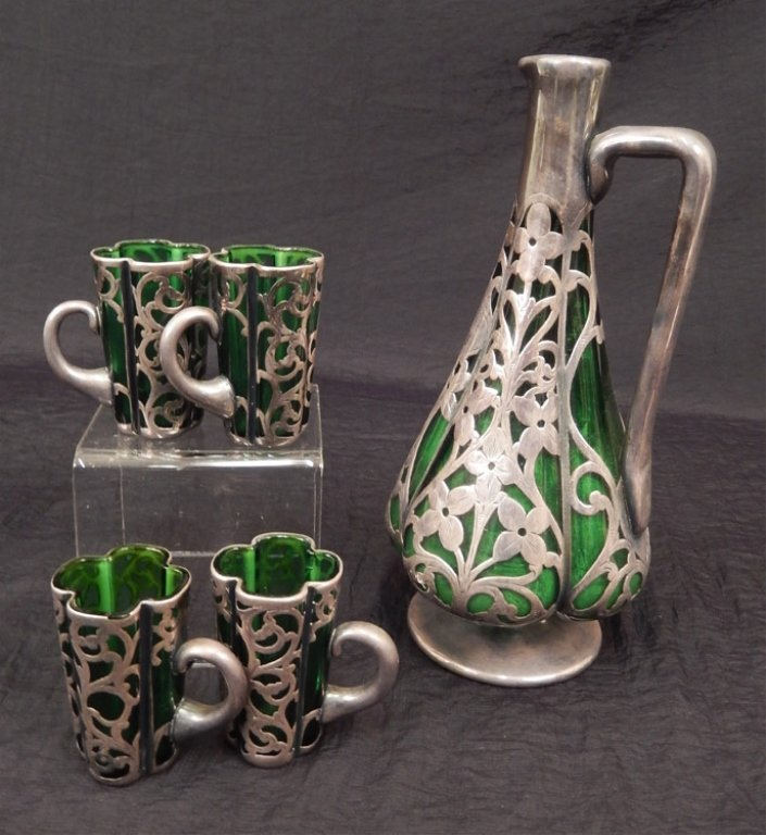 Five piece sterling overlay decanter set