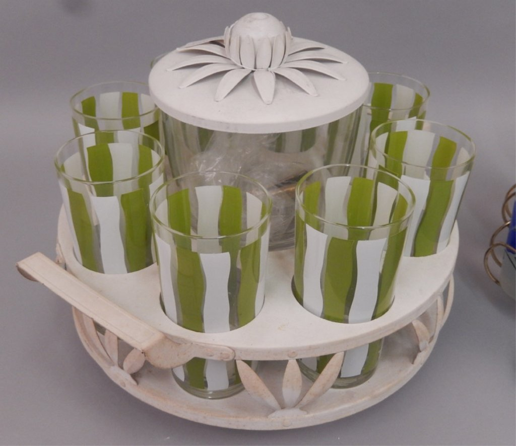 Two Lemonade glass sets in stands - 4