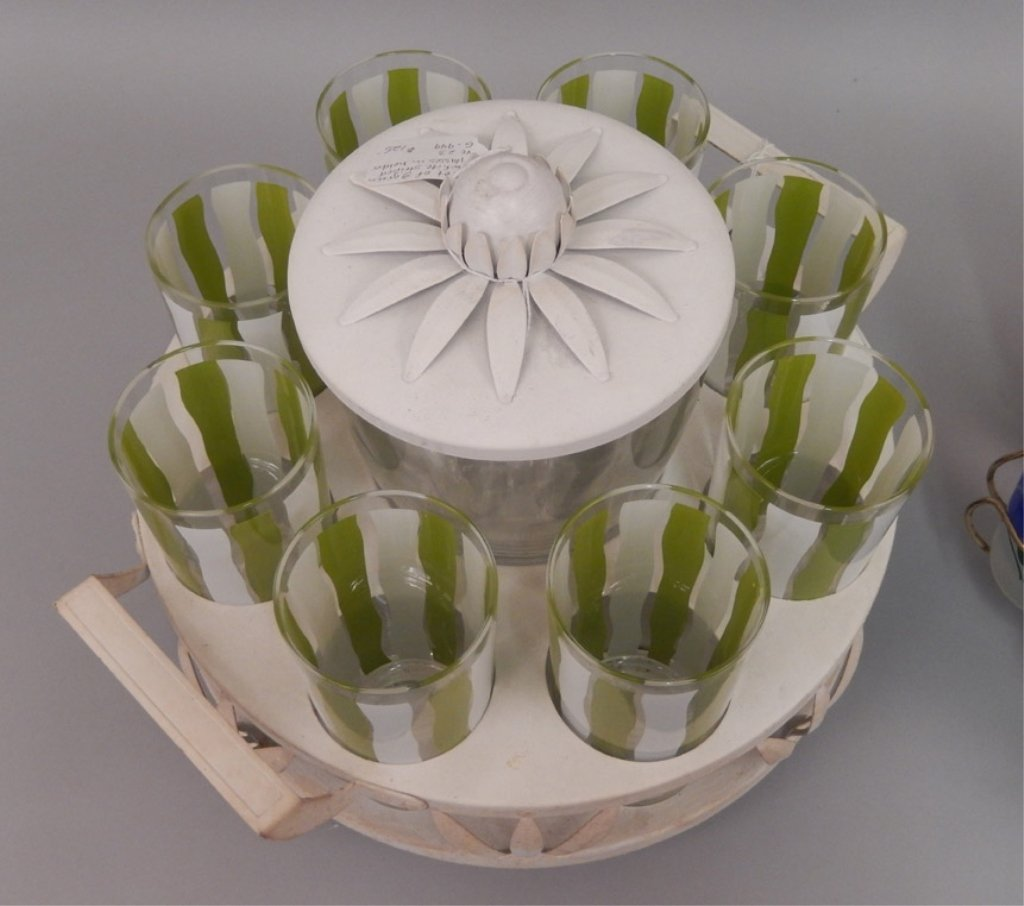 Two Lemonade glass sets in stands - 5