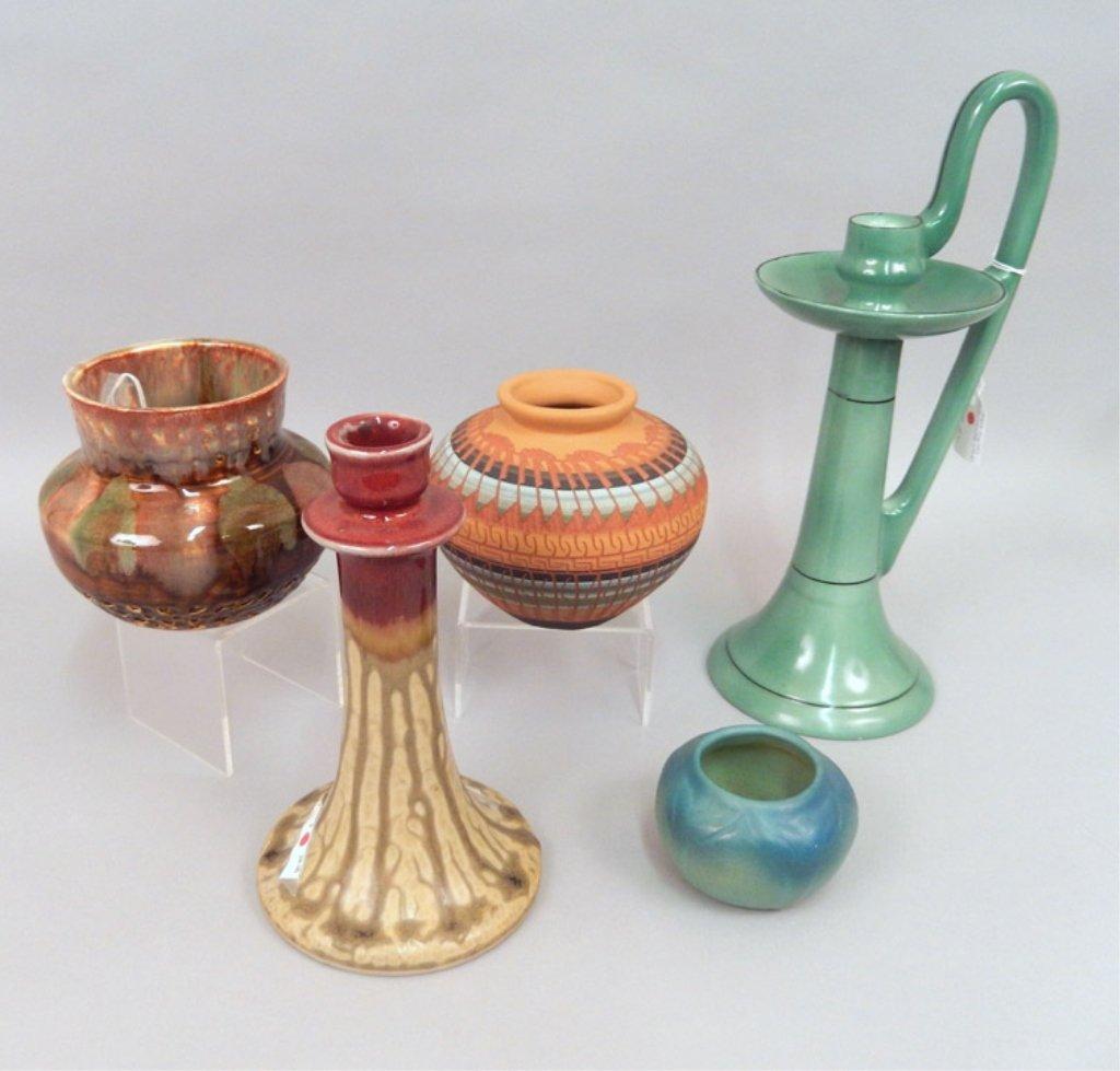 Grouping of pottery pieces, Bernice Watchman, Van