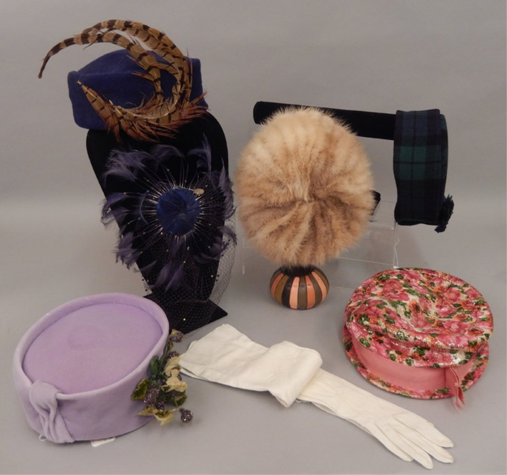 Six vintage ladies hats and pair of child's gloves