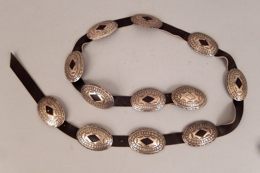 1960's Navajo hammered sterling concho belt