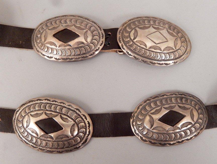 1960's Navajo hammered sterling concho belt - 4