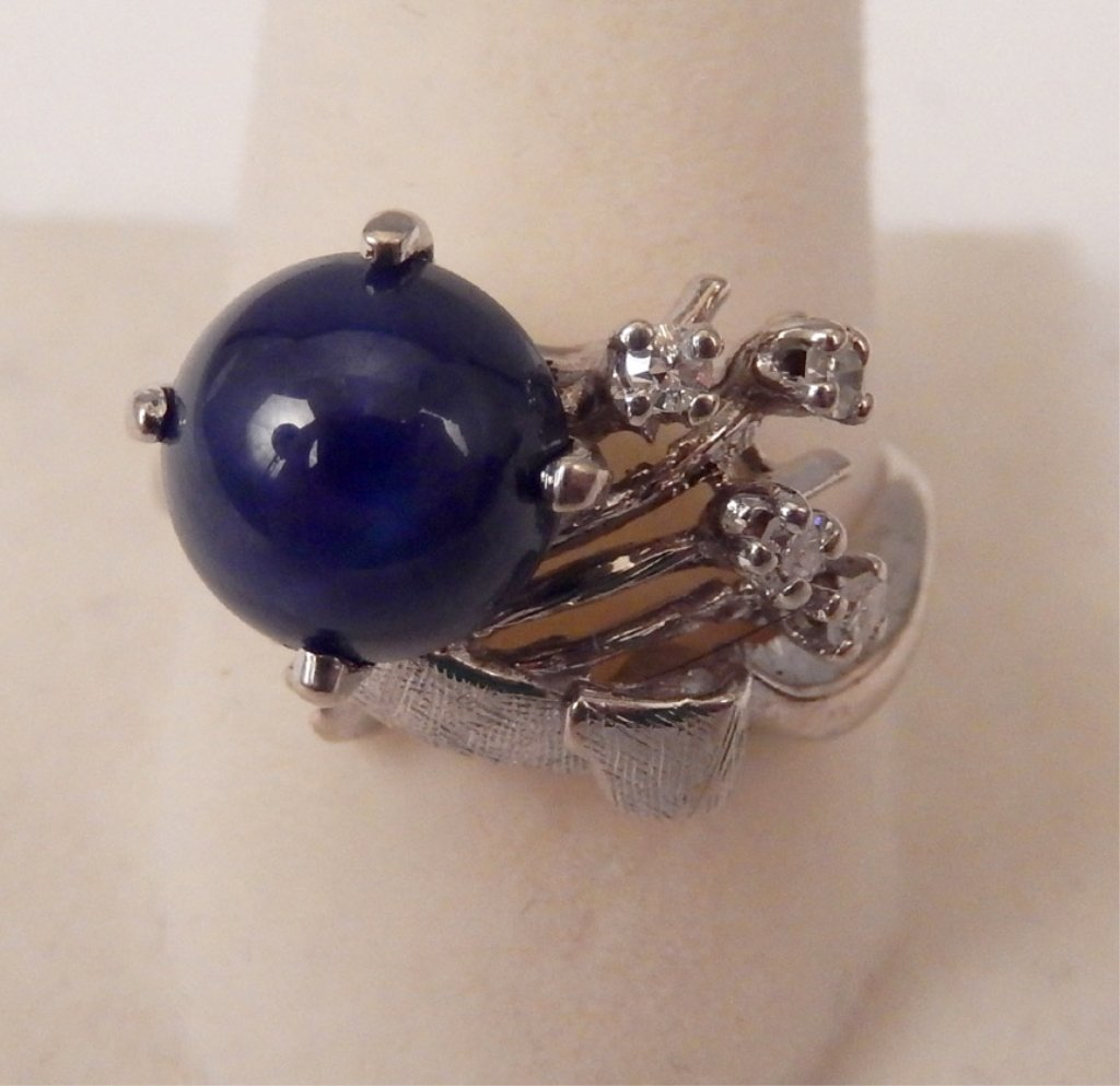 10k gold, diamonds, and star sapphire ring
