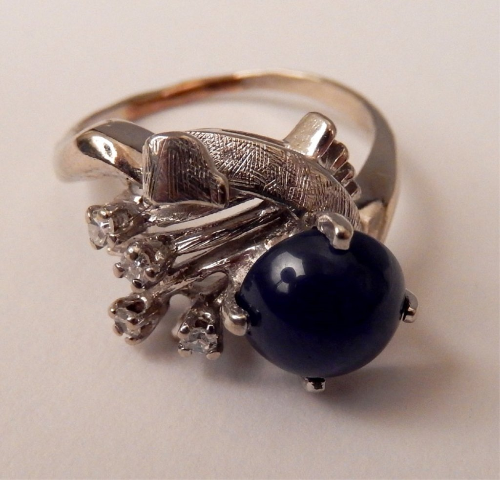 10k gold, diamonds, and star sapphire ring - 2