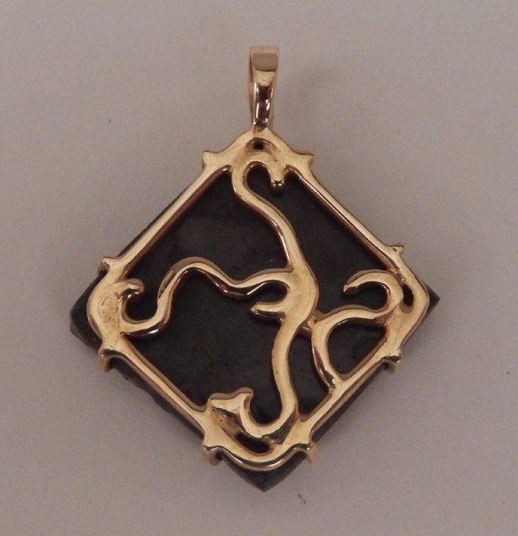 Ammolite gemstone in 14k gold bezel - 2