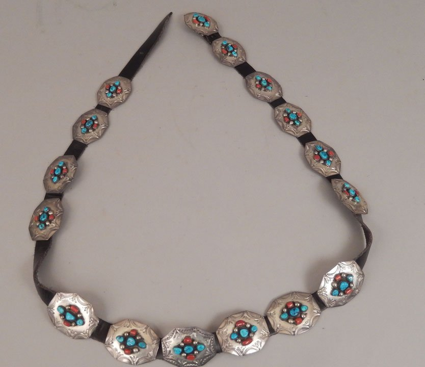 1960's Navajo sterling, turquoise and coral concho belt