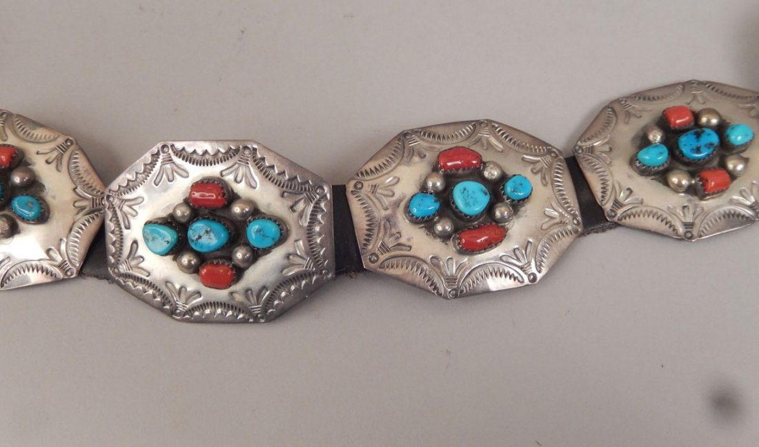 1960's Navajo sterling, turquoise and coral concho belt - 2