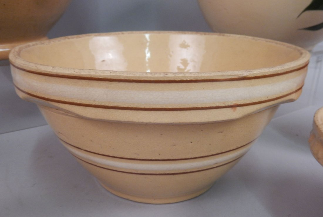 Grouping of yellowware and redware pottery pieces - 5