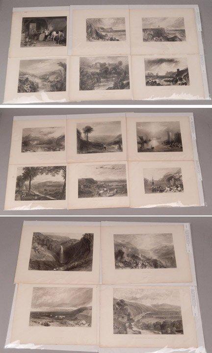 Sixteen J.W.M. Turner steel engravings