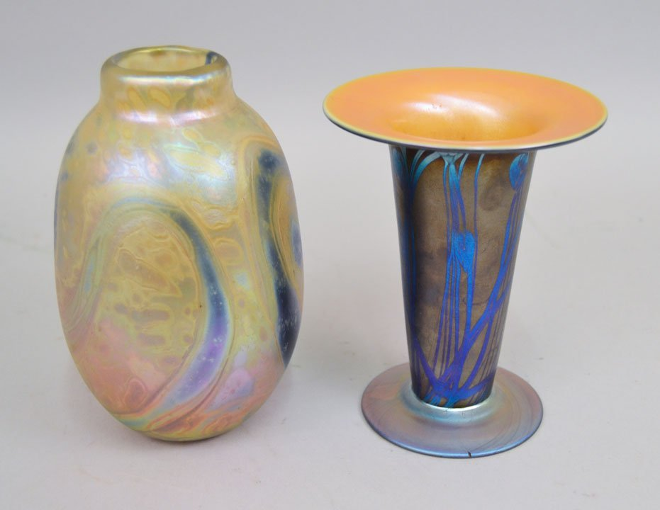 Two art glass vases