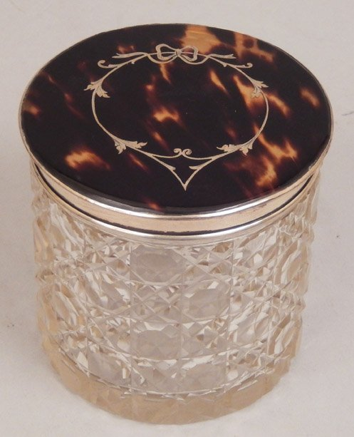 English cut glass dresser jar with tortoise shell and
