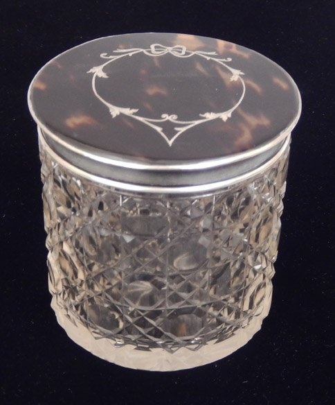 English cut glass dresser jar with tortoise shell and - 2