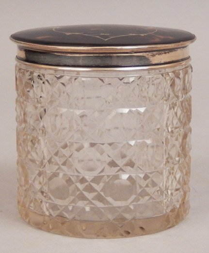 English cut glass dresser jar with tortoise shell and - 3