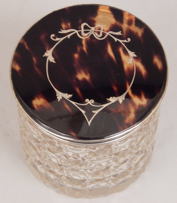 English cut glass dresser jar with tortoise shell and - 4