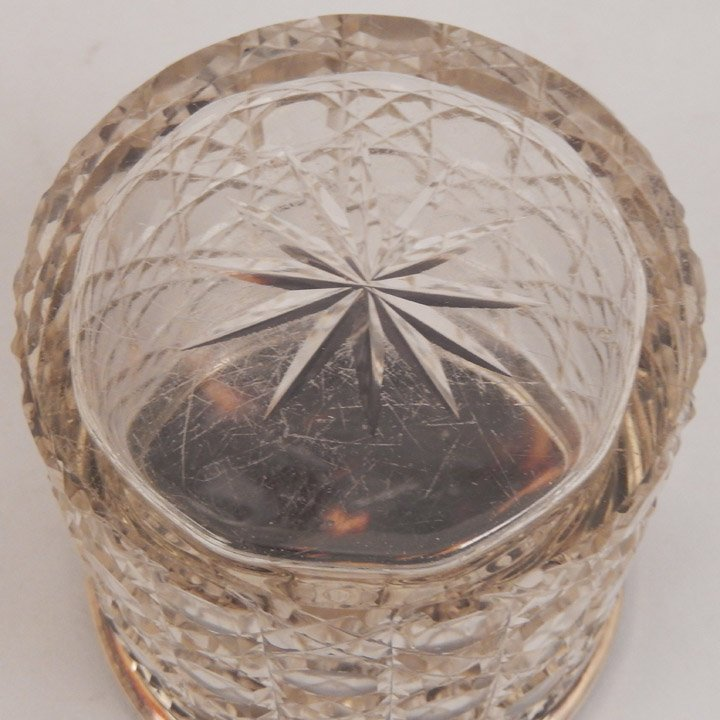 English cut glass dresser jar with tortoise shell and - 6