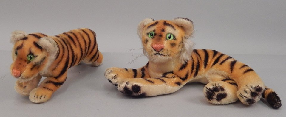 Two Steiff mohair tigers