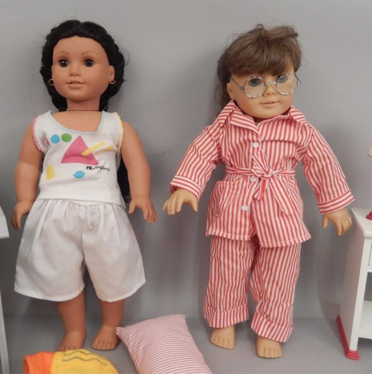 Two American Girl dolls with accessories and books - 2