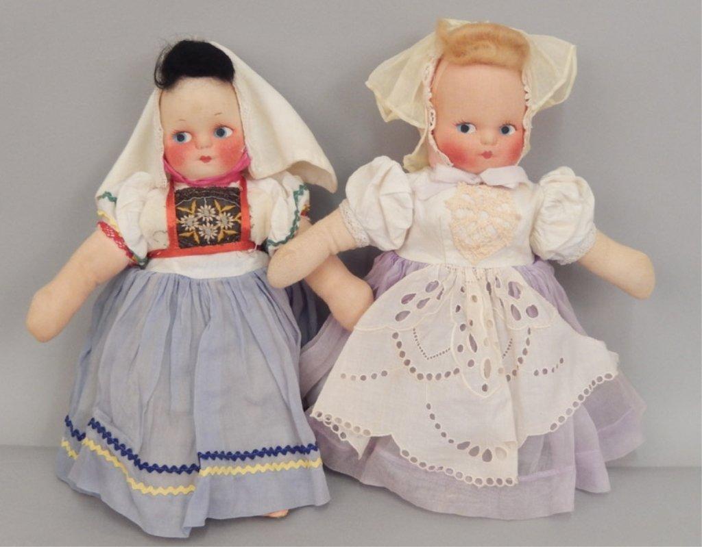 Pair of stockinette dolls