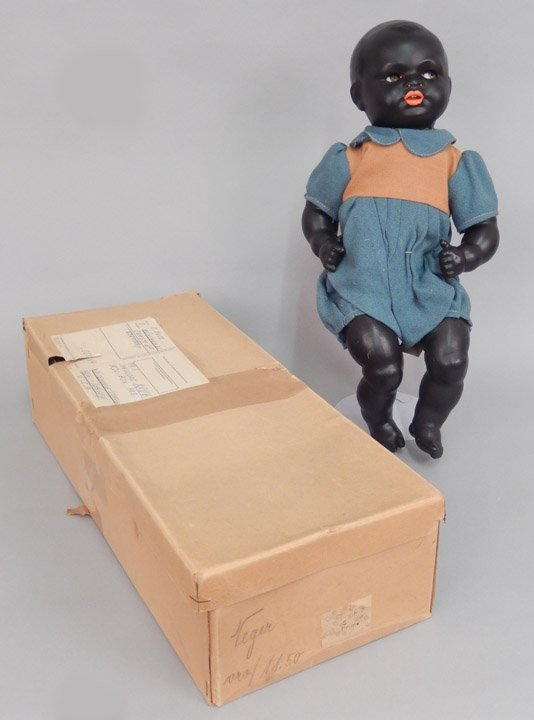 Early German black bisque googly eyed doll