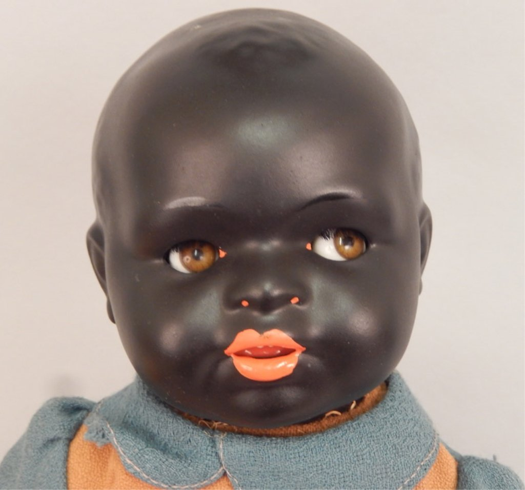 Early German black bisque googly eyed doll - 3