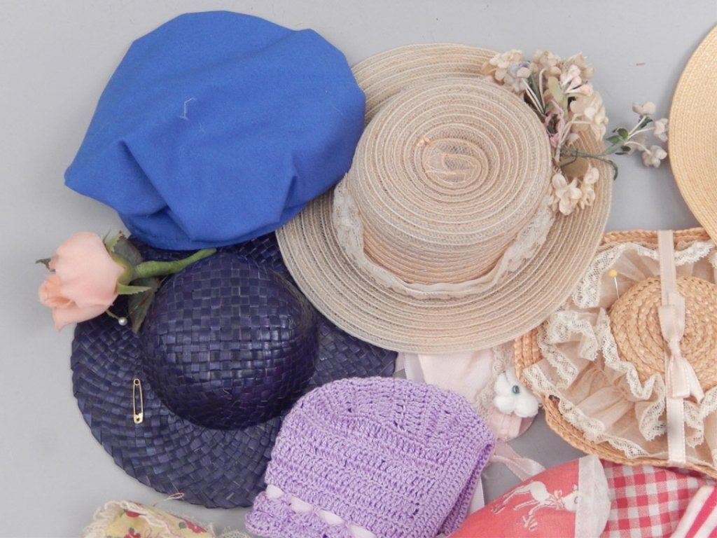 Grouping of vintage doll hats - 4