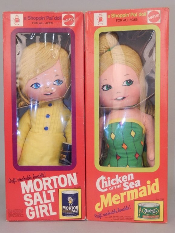 Two Mattel Shoppin' Pal dolls in original boxes