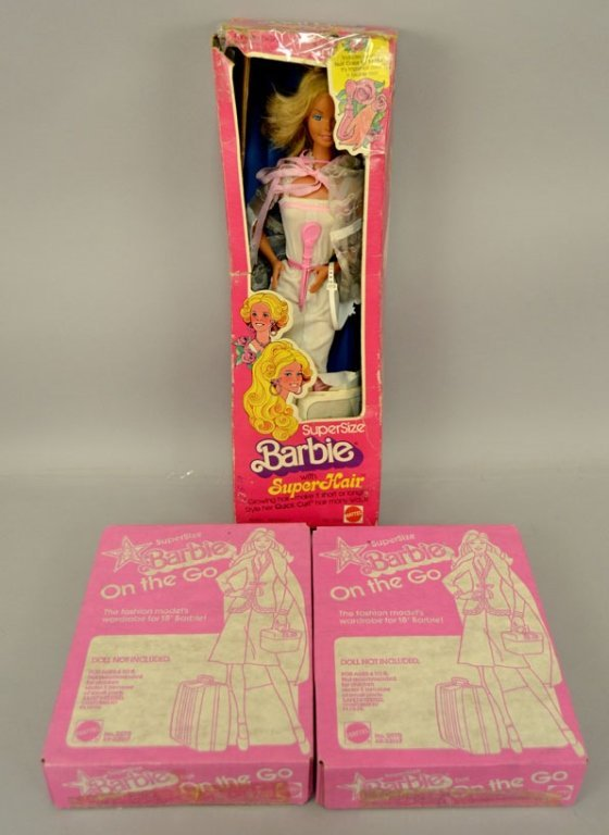 1970's Super Size Barbie and two mint in box outfits