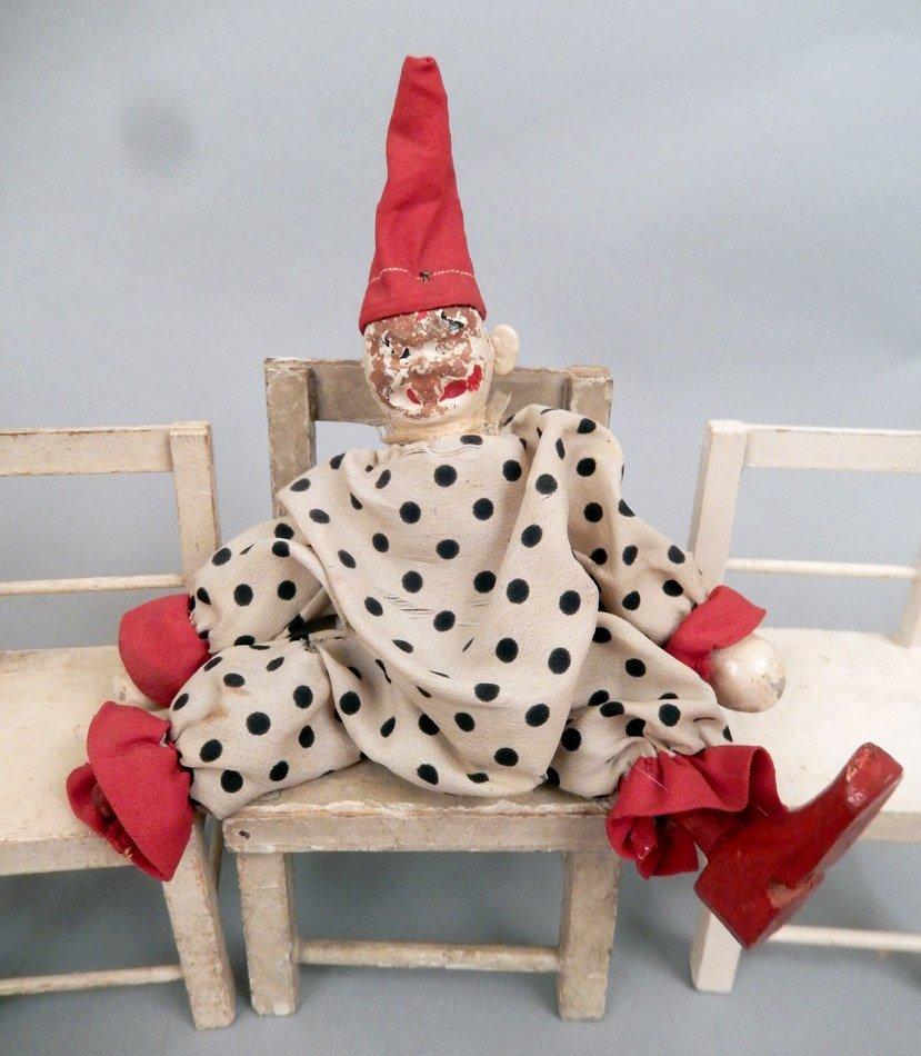 1920's-40's Schoenhut wooden clowns and furniture - 2