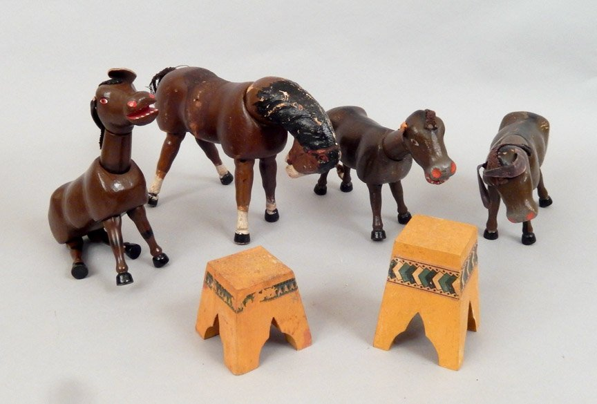 1920's-40's Schoenhut wooden horses and stands