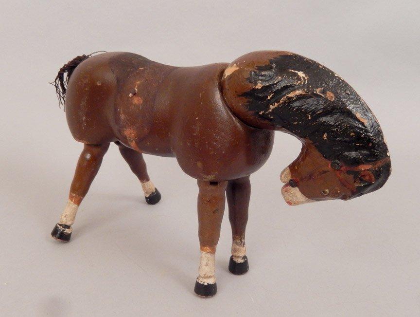 1920's-40's Schoenhut wooden horses and stands - 3
