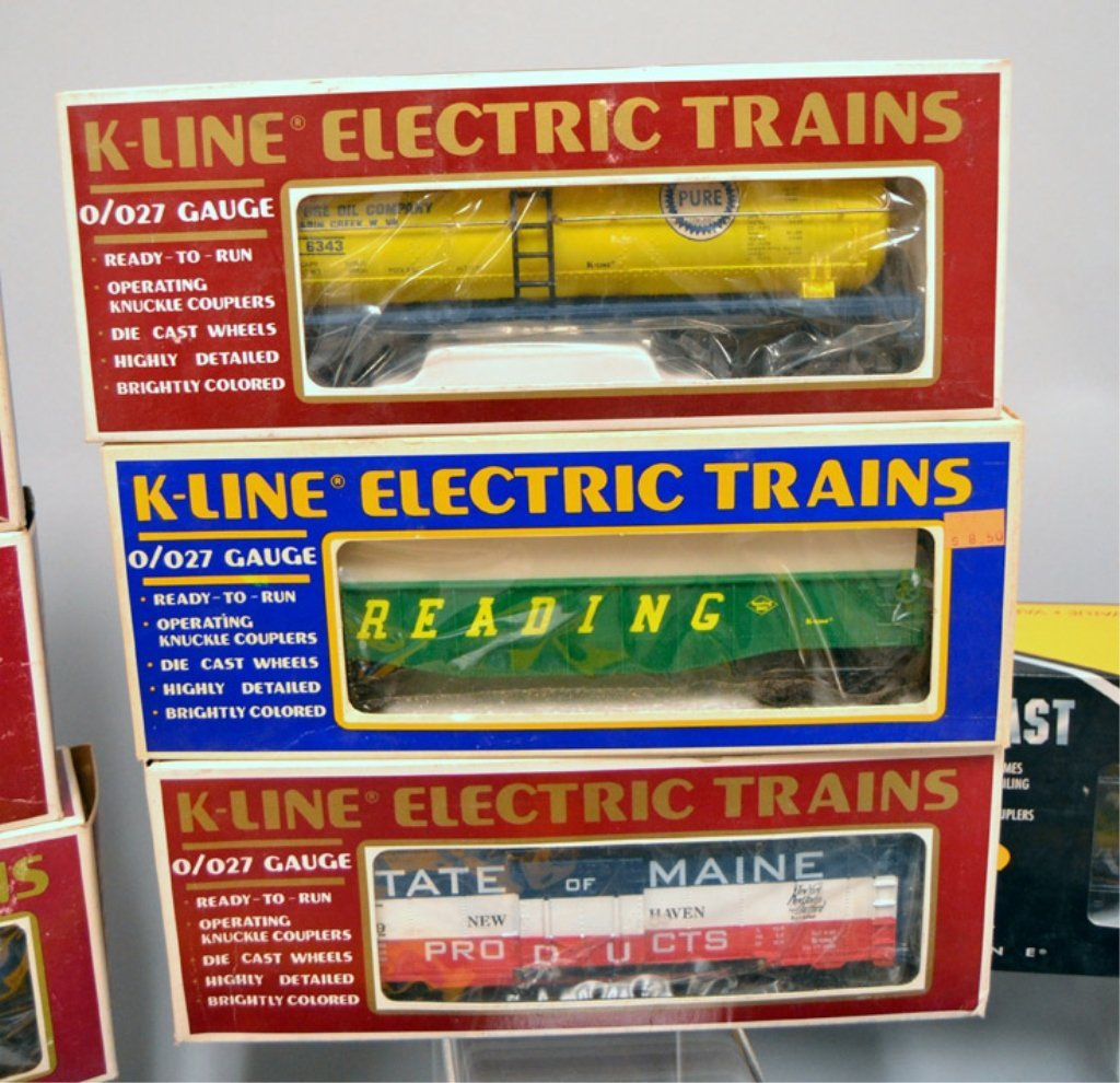 Nine K-line Railroad cars - 2
