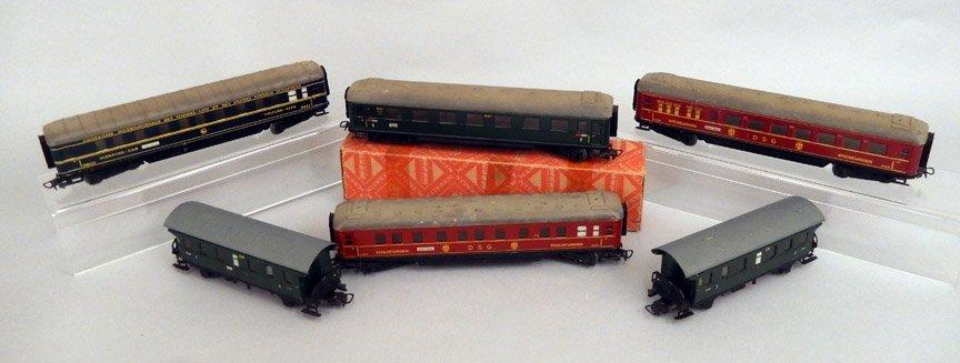 Six Marklin HO scale coach cars