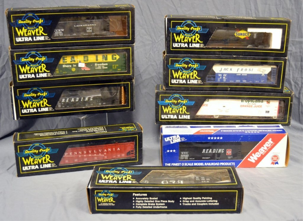 Nine Weaver Ultra Line freight cars in original boxes
