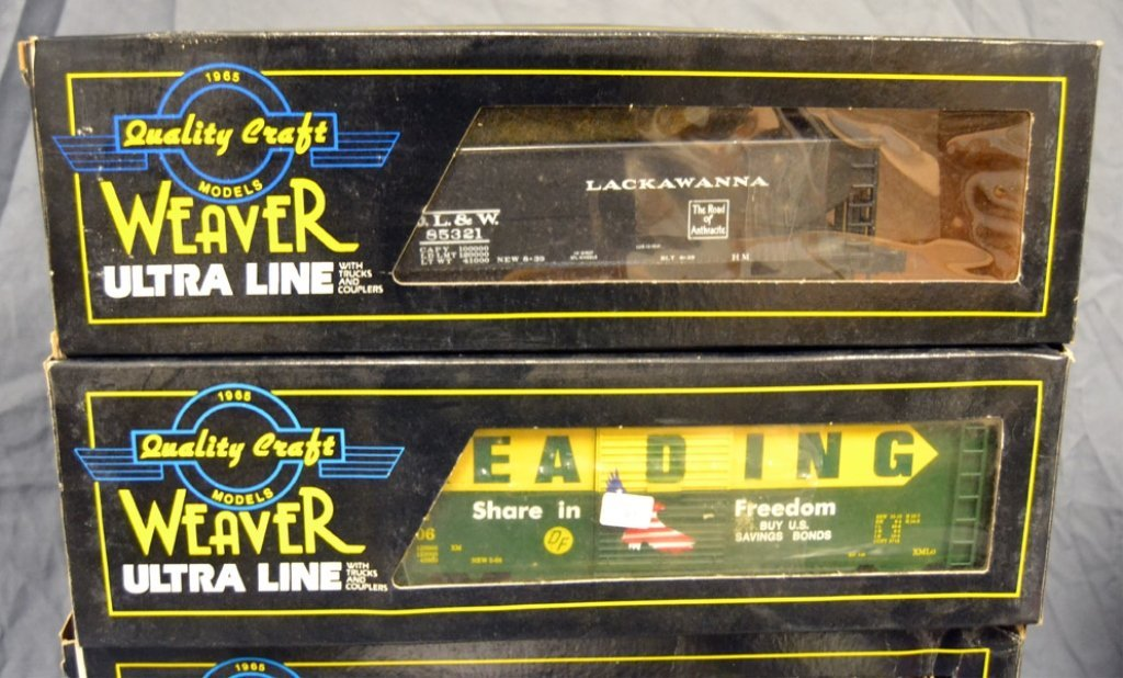 Nine Weaver Ultra Line freight cars in original boxes - 5