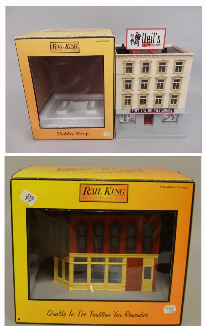 Two Rail King buildings in boxes