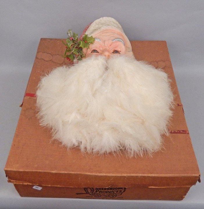 1940's-50's large paper mache & goose feather hanging