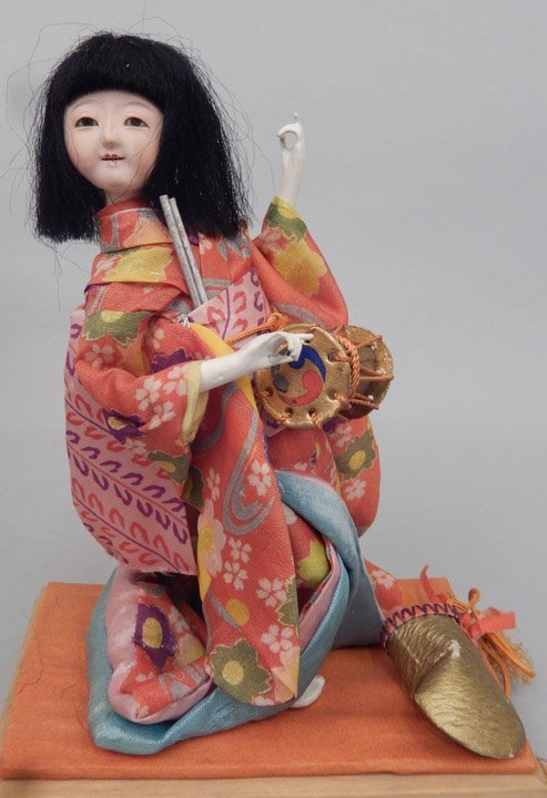 1930's Japanese Icimatsu doll in glass display case - 3