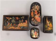 Four Russian lacquer Fairy Tale boxes