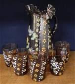 Victorian enameled amethyst glass lemonade set
