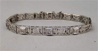 14k gold diamond and sapphire Art Deco bracelet