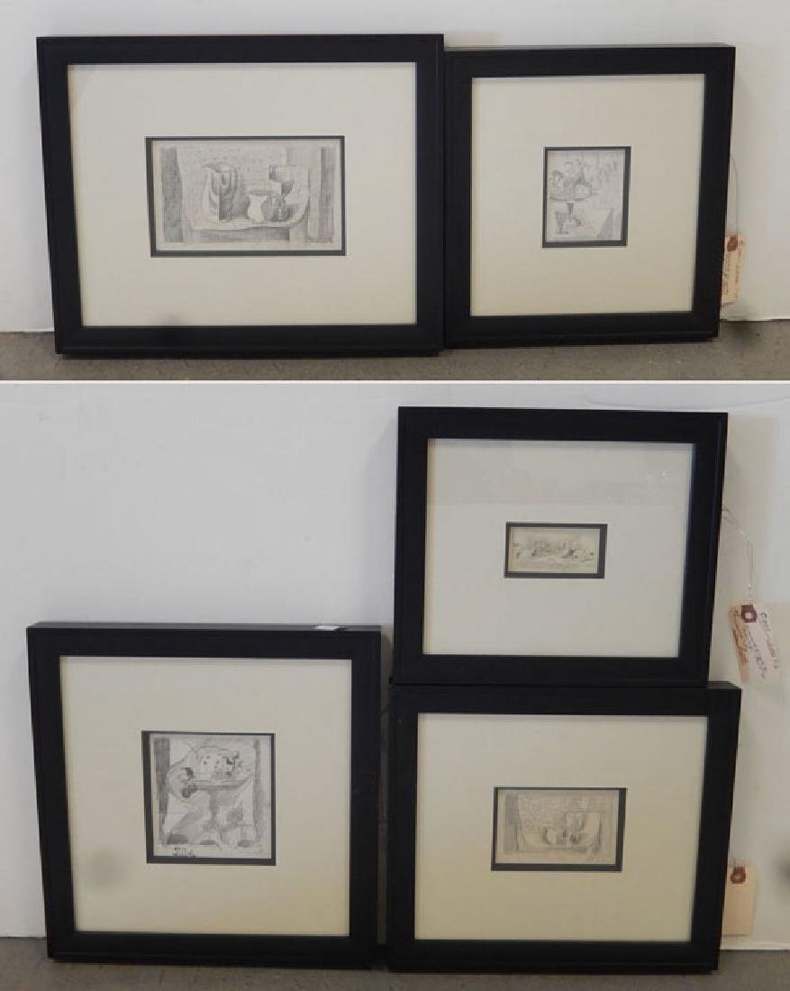 Earl Horter five graphite drawings on paper