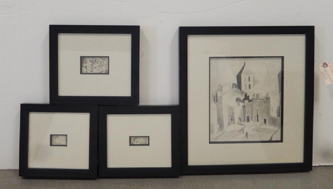Earl Horter four graphite drawings on paper