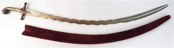 A RARE MUGHAL ZULFIKAR SHAMSHIR SWORD
