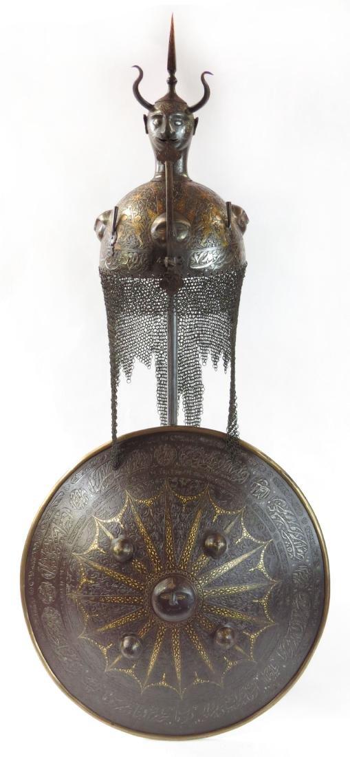 A FINE PERSIAN HELMET AND SHIELD SET