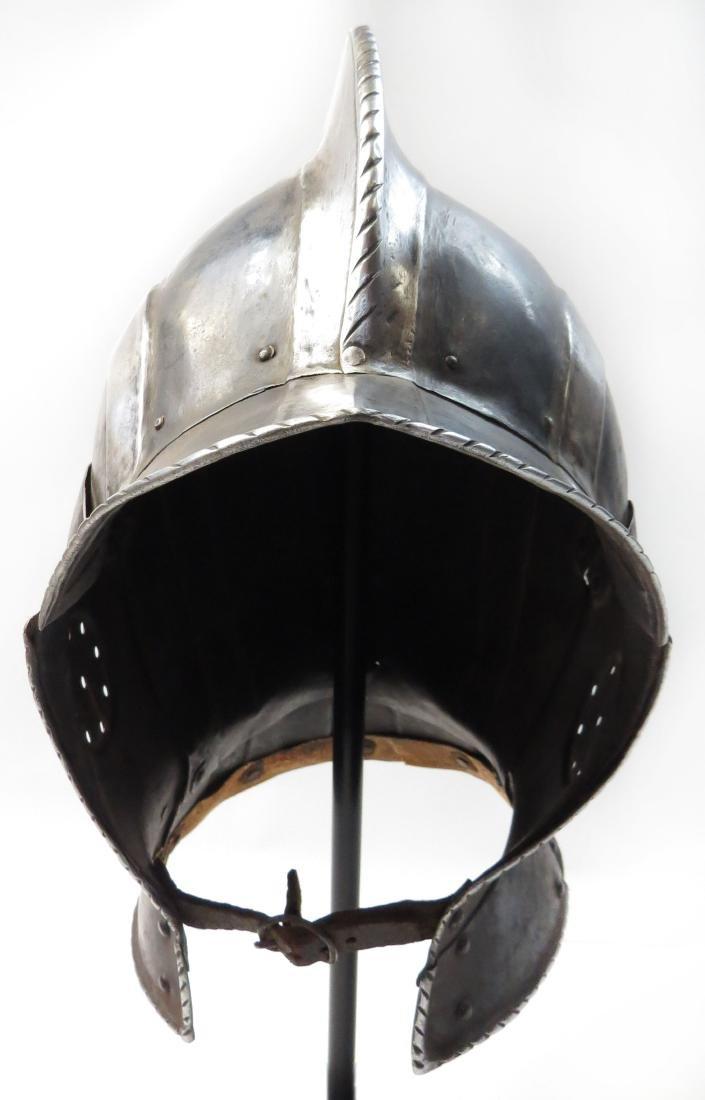 A BLACK & WHITE BURGONET HELMET - 2