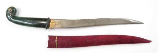 AN INDIAN JADE-HILTED KHANJAR DAGGER